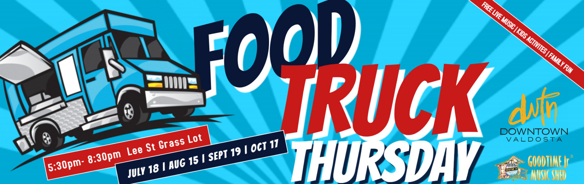 Food Truck Thursdays in Downtown Valdosta. Third Thursday of every month from 5:30pm until 8:30pm. A free concert by Goodtime Jr